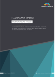 Feed Premix Market by Ingredient Type (Vitamins, Minerals, Amino Acids, Antibiotics, Antioxidants), Livestock (Poultry, Ruminants, Swine, Aquatic Animals, Equine, and Pets), Form (Dry and Liquid), and Region - Global Forecast to 2026