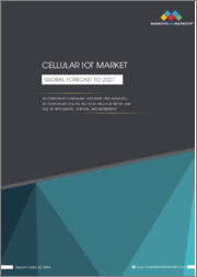 Cellular IoT Market by Component (Hardware, Software, and Services), Technology (2G, 3G, 4G, LTE-M, NB-LTE-M, NB-IoT, and 5G), Application, Vertical and Geography(North America, Europe, APAC, South America & MEA) - Global Forecast to 2027