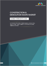 Construction & Demolition Waste Market by type (Sand, Soil & Gravel, Concrete, Bricks & Masonry, Wood, Metal), Source (Residential, Commercial, Industrial, Municipal), & Region (APAC, North America, Europe, MEA, & South America)-Global forecast to 2026