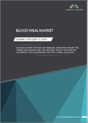 Blood Meal Market by Source (Poultry, Porcine, and Ruminant), Application (Poultry Feed, Porcine Feed, Ruminant Feed, and Aquafeed), Process (Solar Drying, Drum Drying, Ring & Flash Drying, and Spray Drying), and Region - Global Forecast to 2025