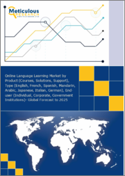 Online Language Learning Market by Product (Course, Solution, Support), Type (English, French, Spanish, Mandarin, Arabic, Japanese, Italian, German), End (Individual, Corporate, Educational Institution, Government Institution) - Global Forecast to 2025