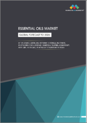 Essential oils Market by Type (Orange, Lemon, Lime, Peppermint, Citronella, and Others), Application (Food & Beverage, Cosmetics & Toiletries, Aromatherapy, Home Care, Health Care), Method of Extraction, and Region - Global Forecast to 2026